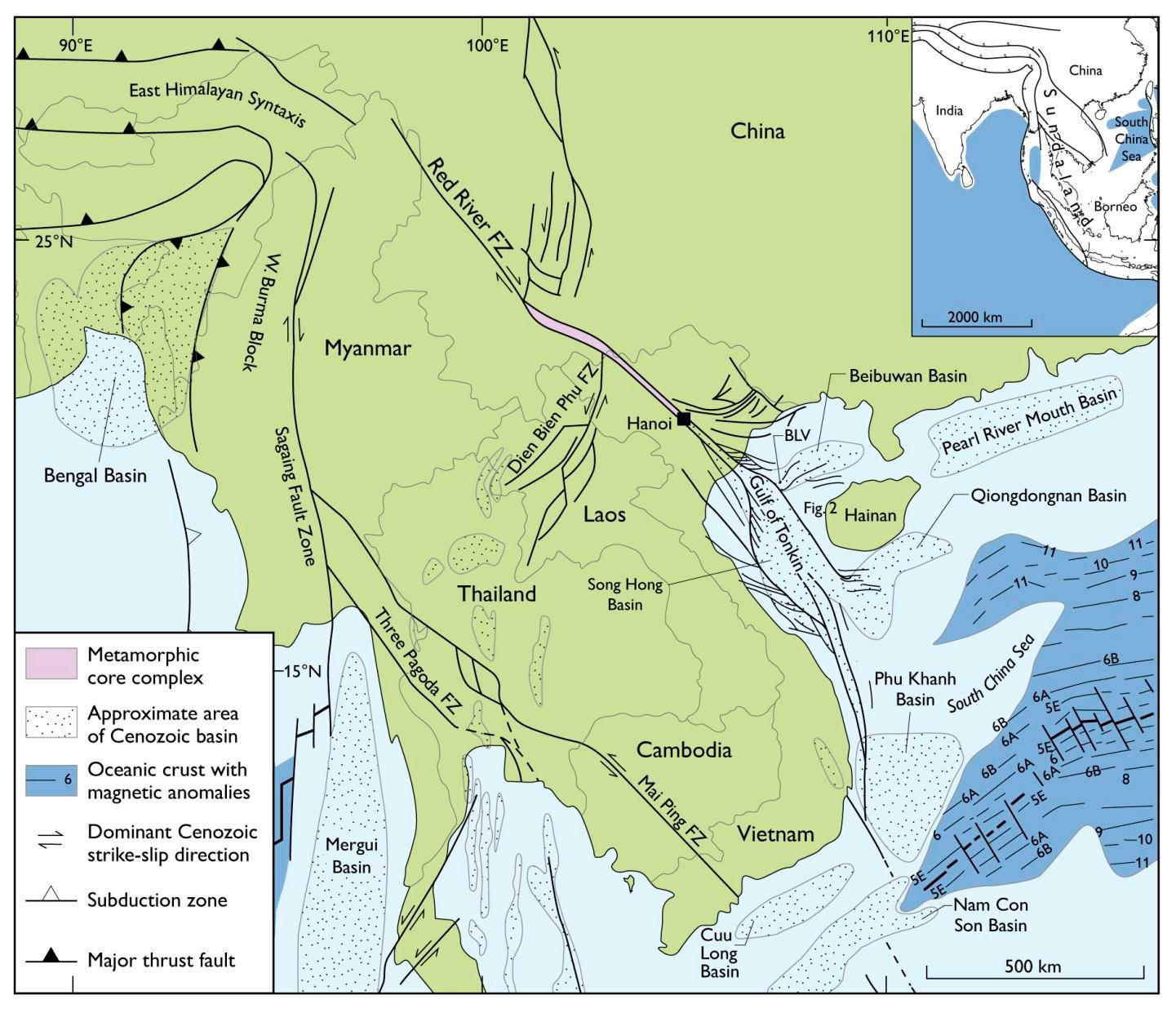 Oversigt over forkastningssystemer og sedimentbassiner i studieområdet. / Overview of fault systems and sedimentary basins in the study area.