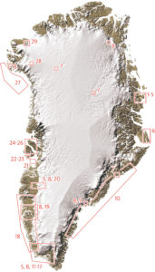 Grønlandskort over feltaktiviteter i 2019