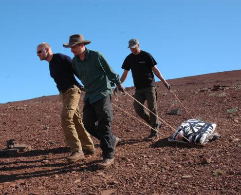 Fotografi fra Grønland, hvor tre mænd slæber stenblokke med knogler