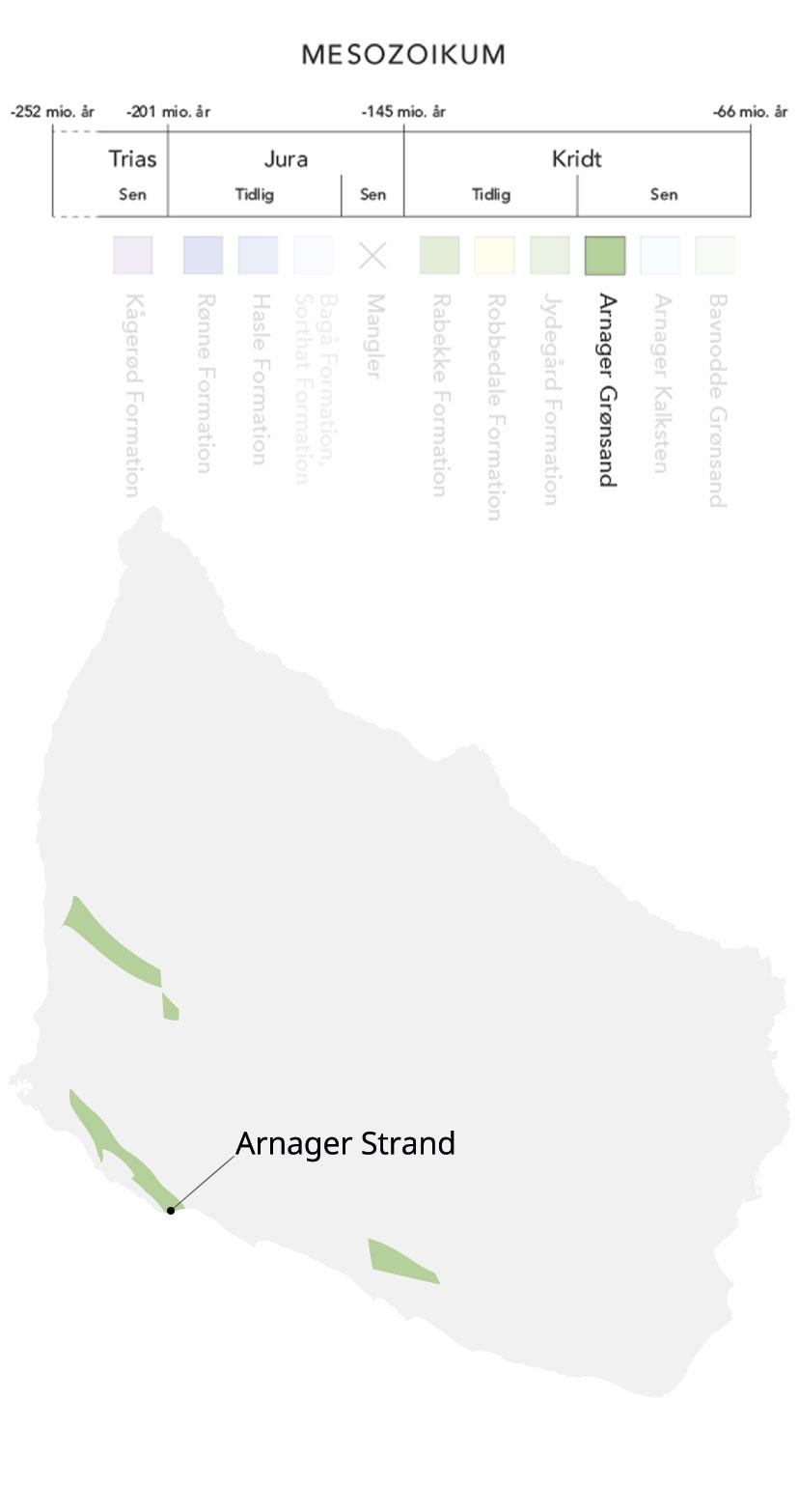 Kort over Bornholm og Arnager grønsand