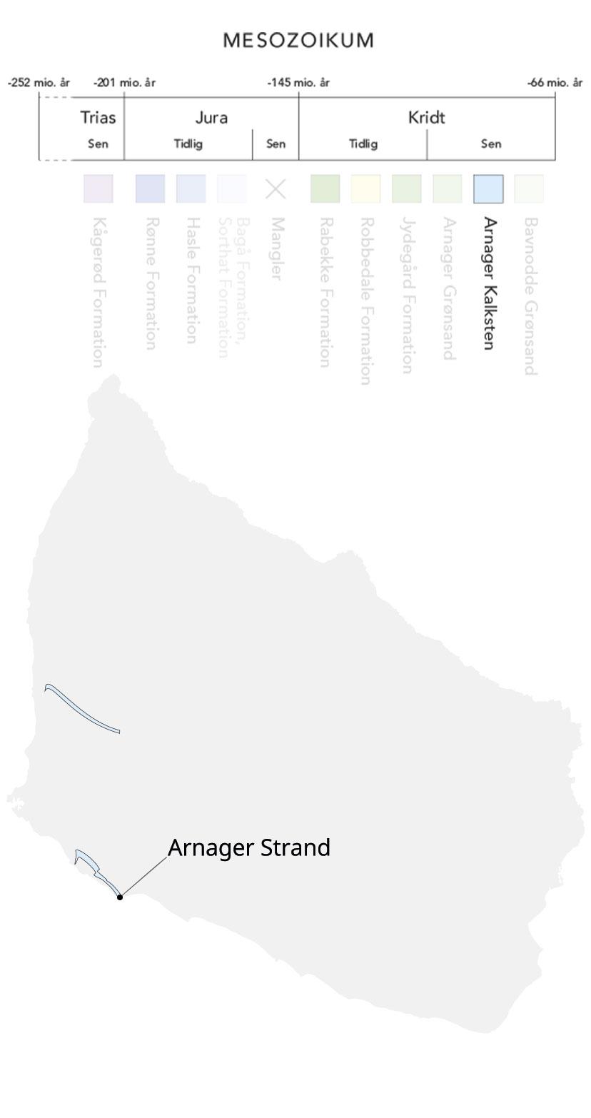Kort over Bornholm og Arnager kalksten