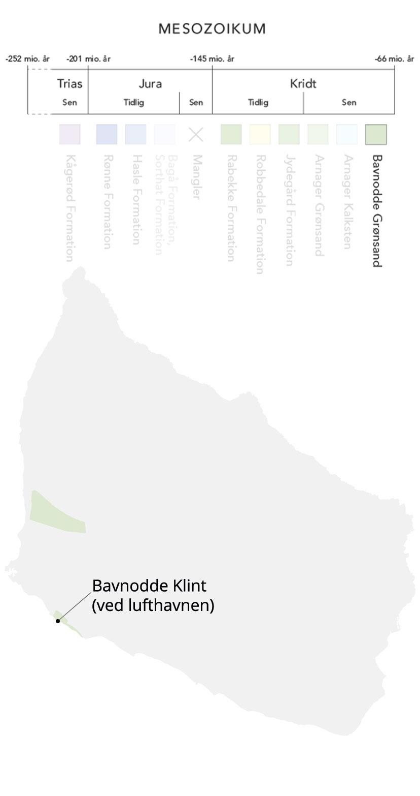 Kort over Bornholm og Bavnodde grønsand