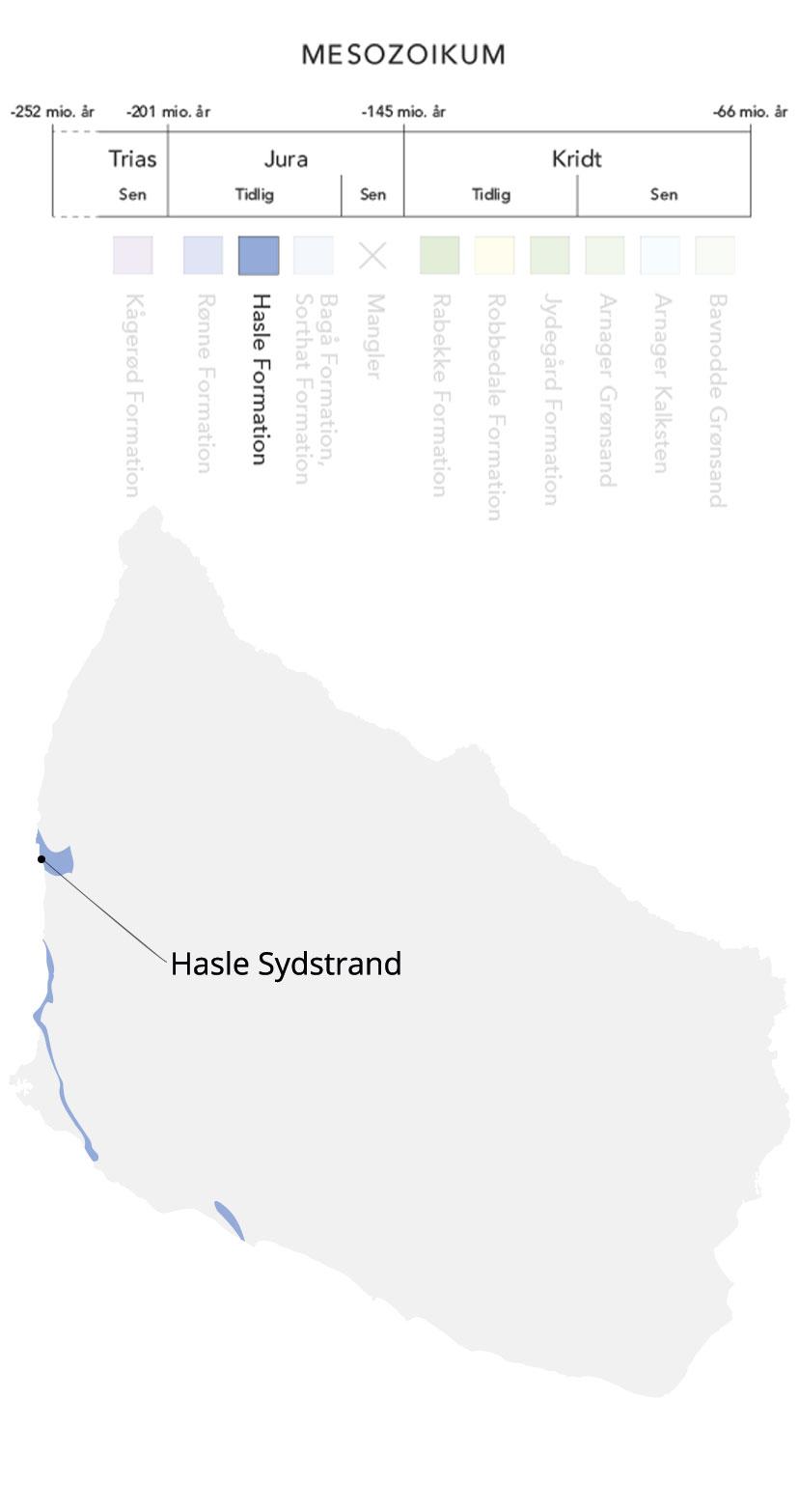 Kort over Bornholm og Hasle formation