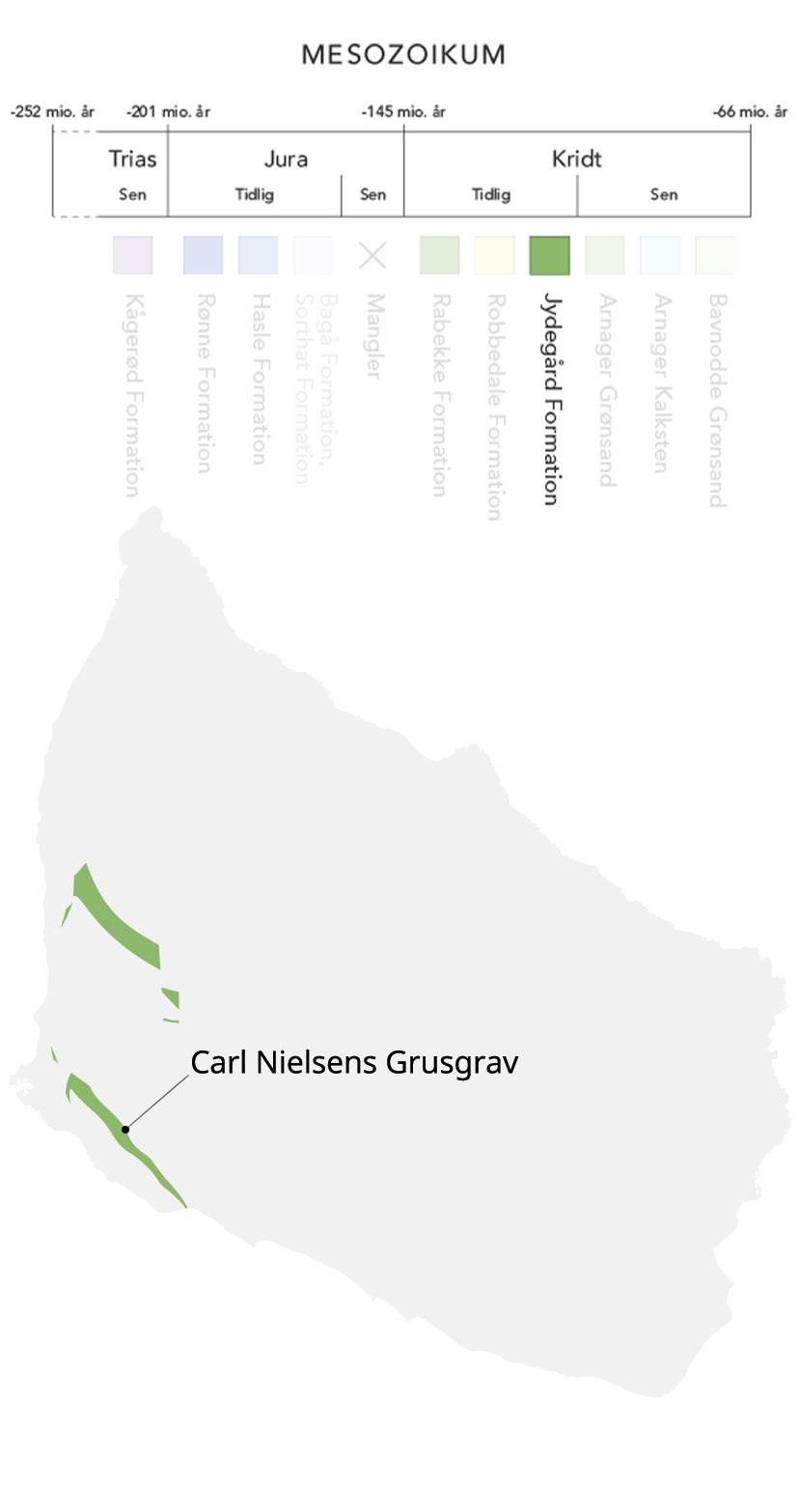 Kort over Bornholm og Jydegård formation