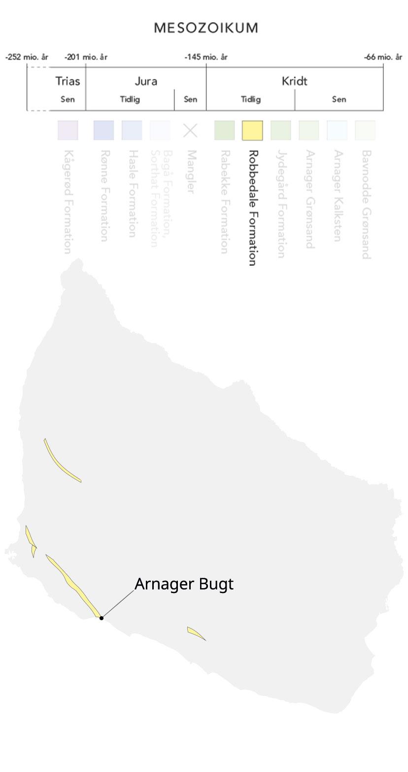 Kort over Bornholm og Robbedale formation