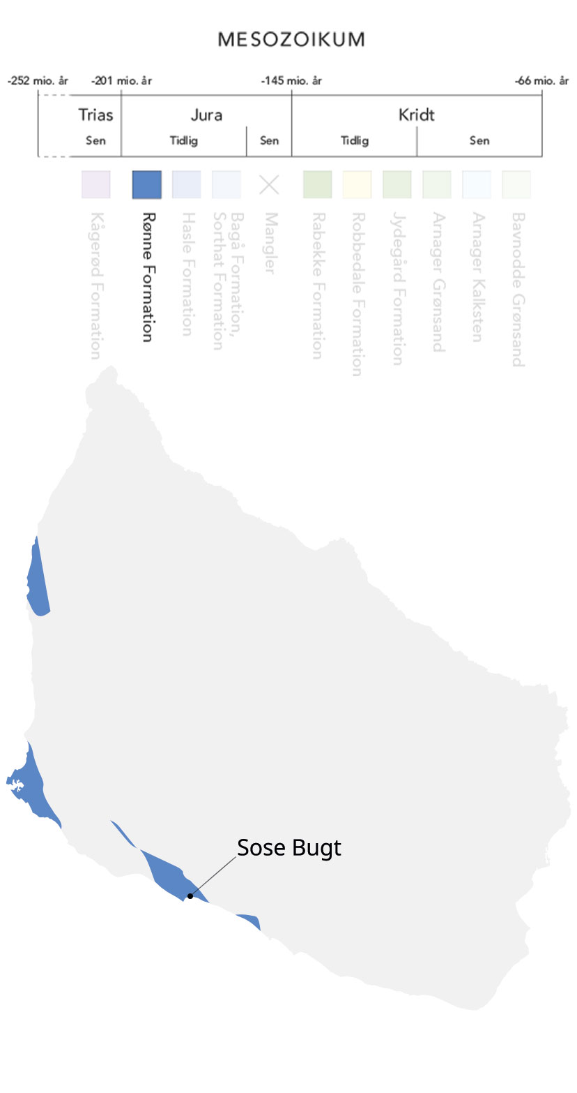 Kort over Bornholm og Rønne formation